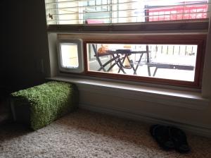 Sash window with built-in cat door