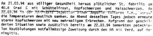 Meningitis symptoms March 1994.