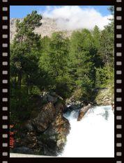 Waterfall at the foot of Morteratsch glacier