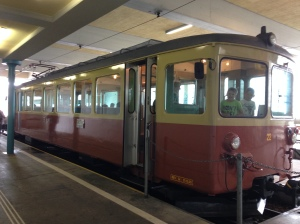 On the way to Muerren - what a cute little train.