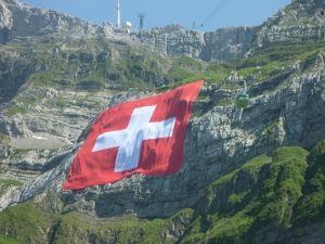 Gigantic Swiss flag mounted on Säntis.