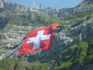 Gigantic Swiss flag mounted on Säntis.
