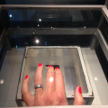 Touching a moon stone at Kennedy Space Center (notice the neatly manicured hand ;-))