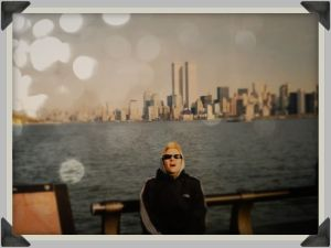 My own self on Liberty Island in 2000 (caught mid-sneeze... no wonder, it was December and freaking cold...)