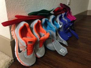 My freshly washed running shoe collection.