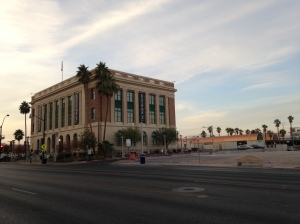 The Mob Museum, located in the historic former courthouse and U.S. Post Office.