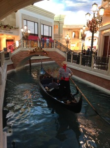 A singing Gondolier. Inside the Venetian.