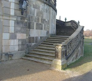 The steps on which Cinderella lost her shoe.