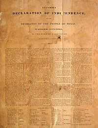 Declaration of Independence, Texas