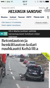 Finnish newspaper clipping showing my friend's family's wrecked car.