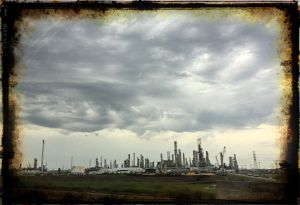 God's wrath looming over the oil refinery?