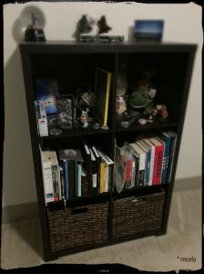 My very personal, physical bookshelf; middle shelf on the left is my book area.