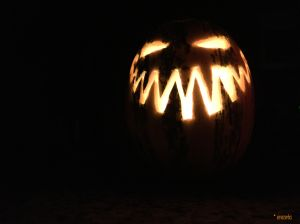 Carved Cheshire Cat Grin Pumpkin