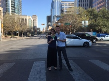Taking our lives in our hands for this shot in the middle of Congress Ave.