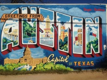 """Of course we couldn't miss the """"Greetings from Austin"""" Wall"""